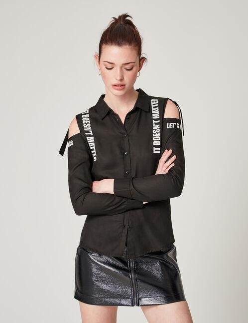 Black shirt with text design detail