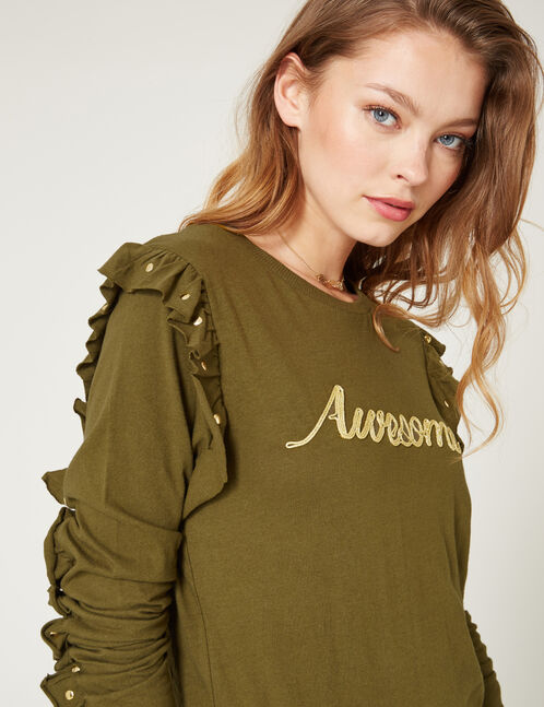 Khaki T-shirt with frill and stud details