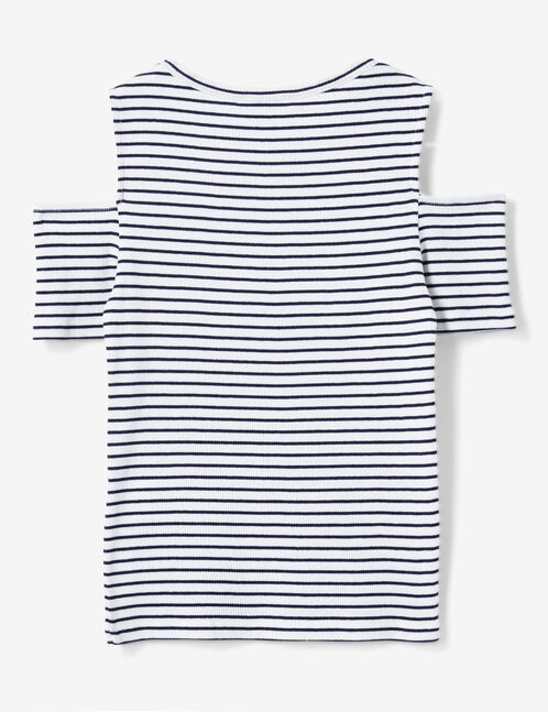Cream and navy blue striped cold shoulder T-shirt