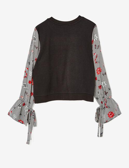 Black mixed fabric sweatshirt