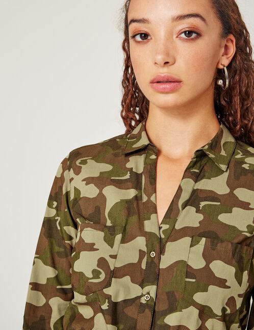 Khaki camouflage blouse with belt