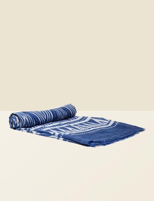 Blue geometric print scarf