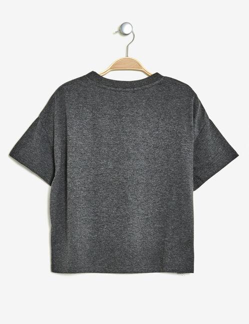 crop top imprimé gris anthracite chiné