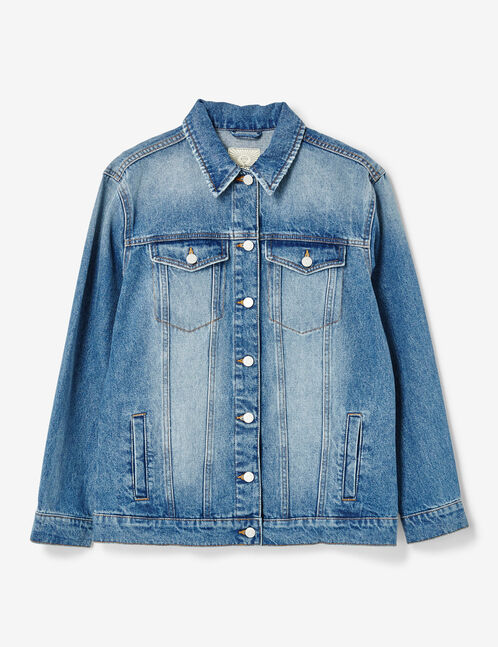 veste longue en jean medium blue