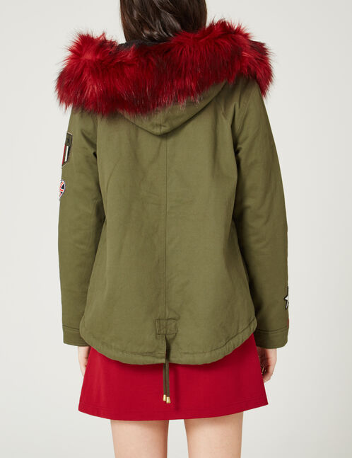 Khaki parka with patch detail