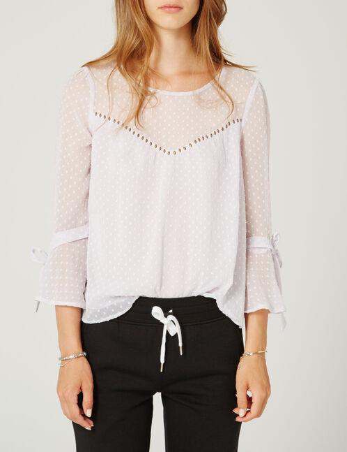 blouse plumetis et clous mauve