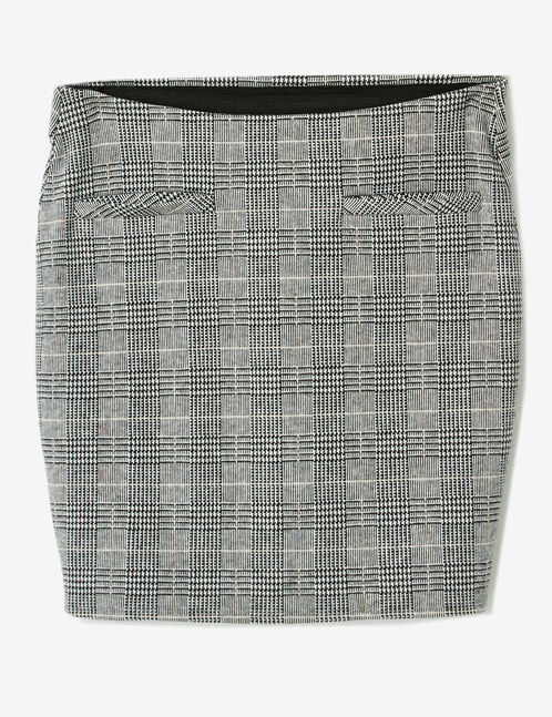 Grey glen check tube skirt