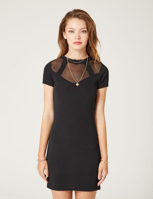robe bi-matière noire