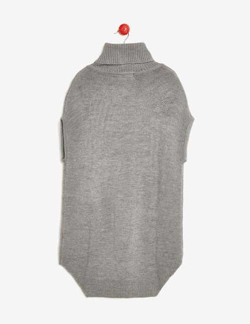 pull long col roulé gris chiné