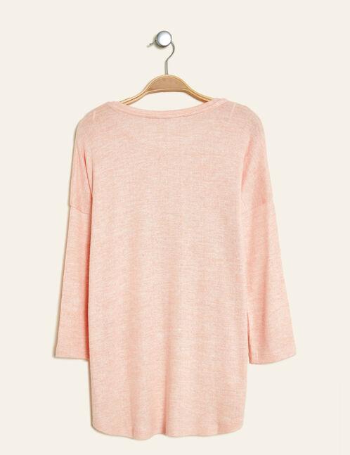 tee-shirt mix d'imprimés rose clair chiné