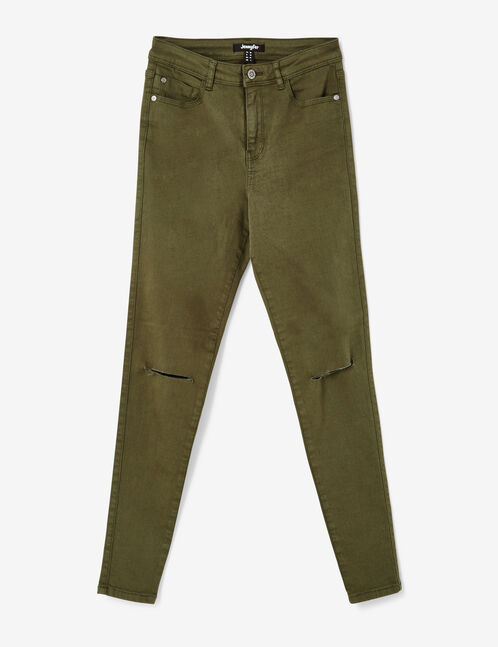Khaki high-waisted ripped trousers