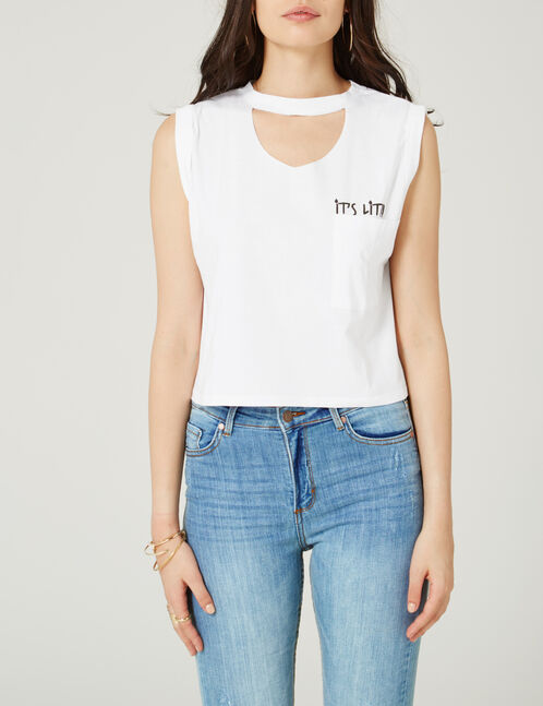 White tank top with text design detail