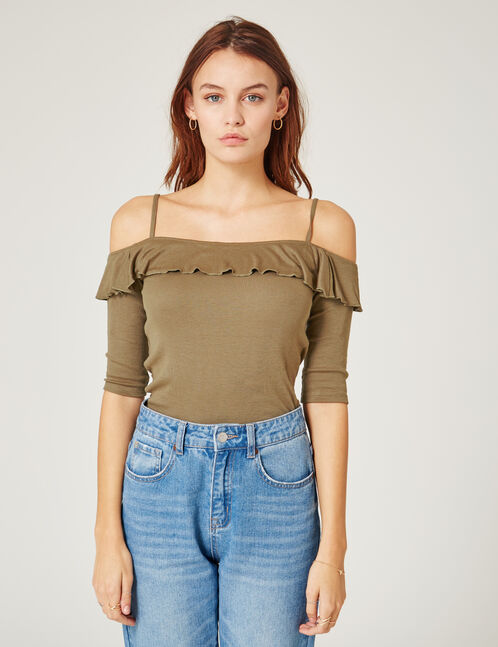 Khaki top with frill detail