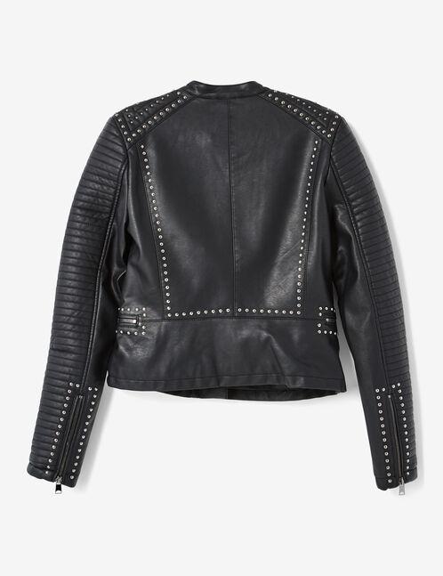 veste biker cloutée noire