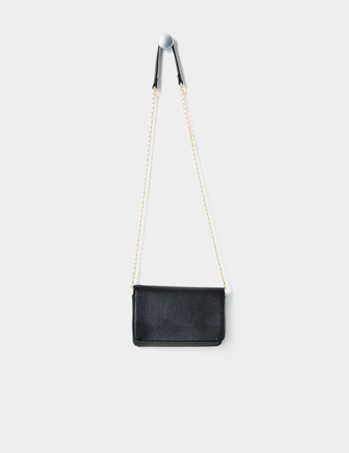 Black cross-body bag with gold detail
