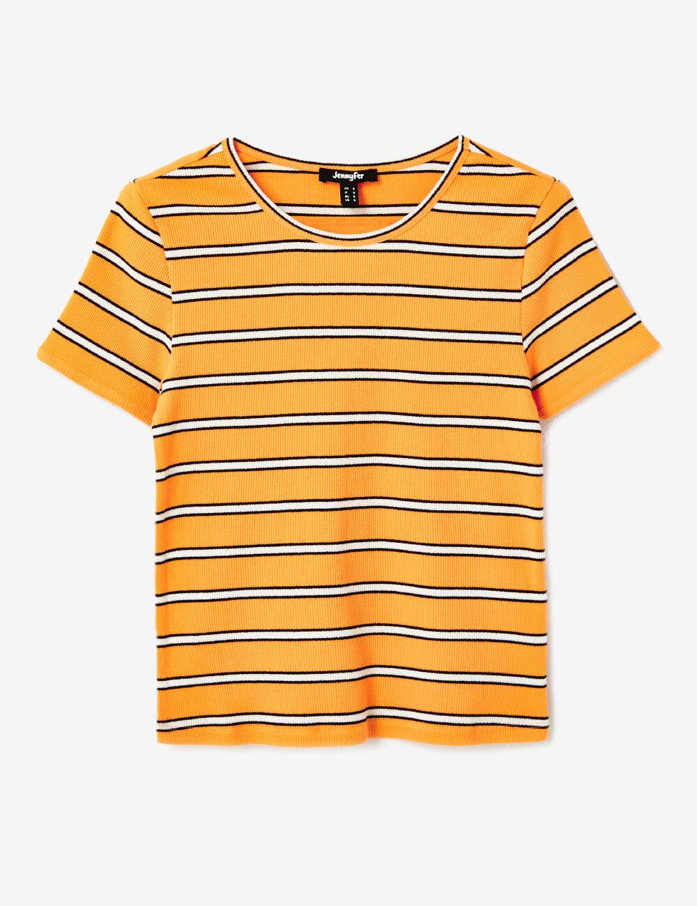 tee shirt ray orange clair femme jennyfer. Black Bedroom Furniture Sets. Home Design Ideas
