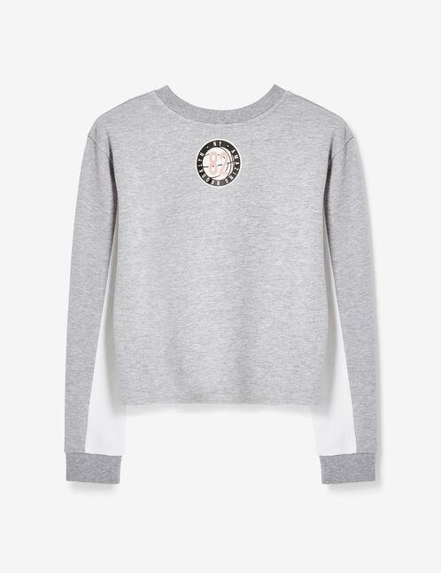 sweat bicolore gris et blanc