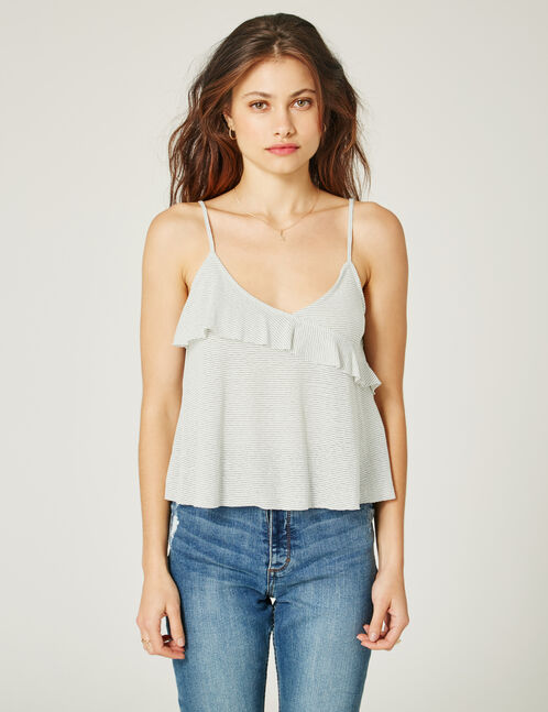 Cream and grey striped frilled tank top