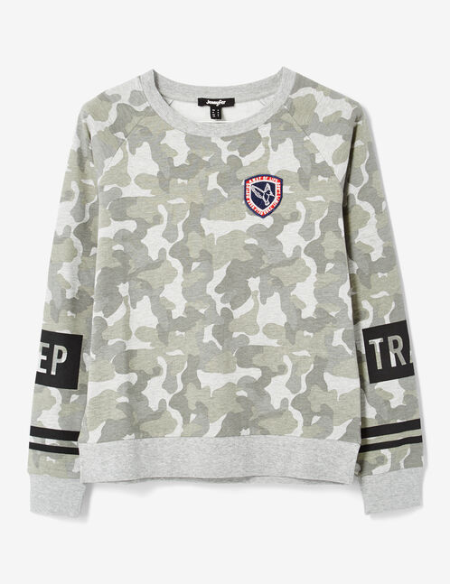 "Khaki and grey marl camouflage ""keep track"" print sweatshirt"