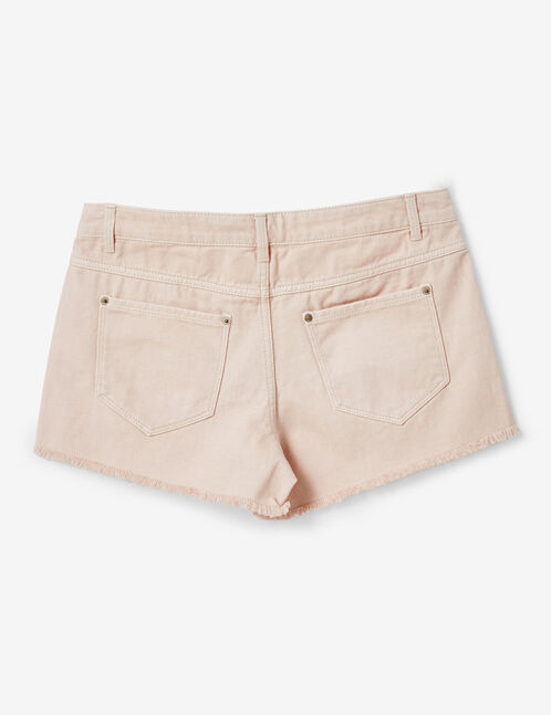 Light pink frayed shorts