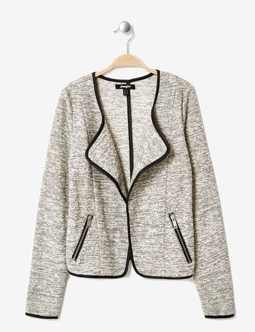 White and black marl open-front jacket