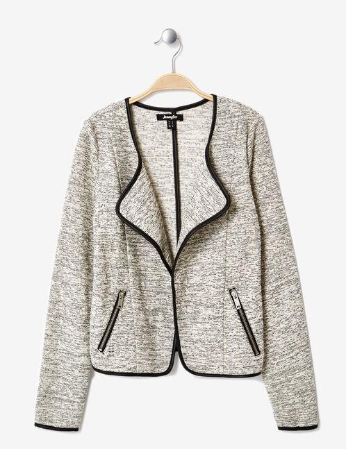 veste jetée moulinée blanche et noire