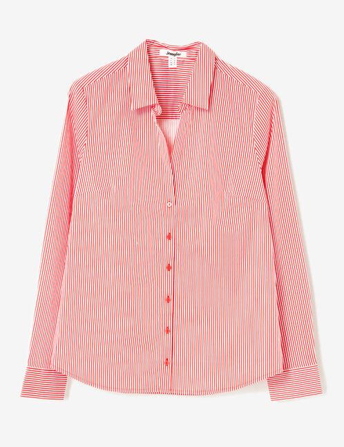 chemise cintrée rayée rouge et blanche