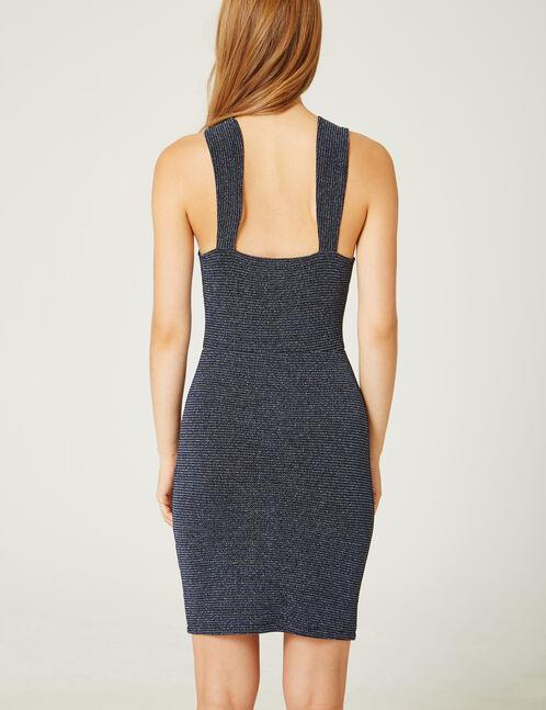 robe rayé en lurex bleue et argentée