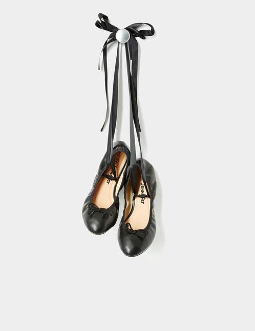 Black lace-up ballet pumps