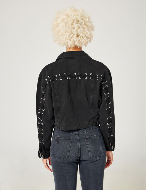 Black denim jacket with lacing detail