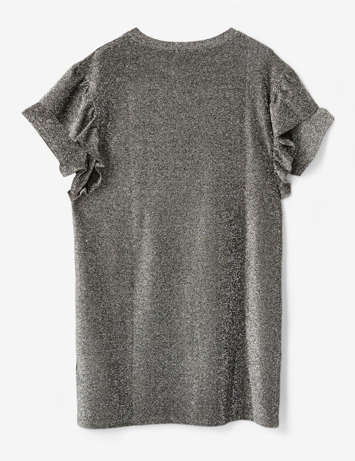 Silver straight dress with frill detail