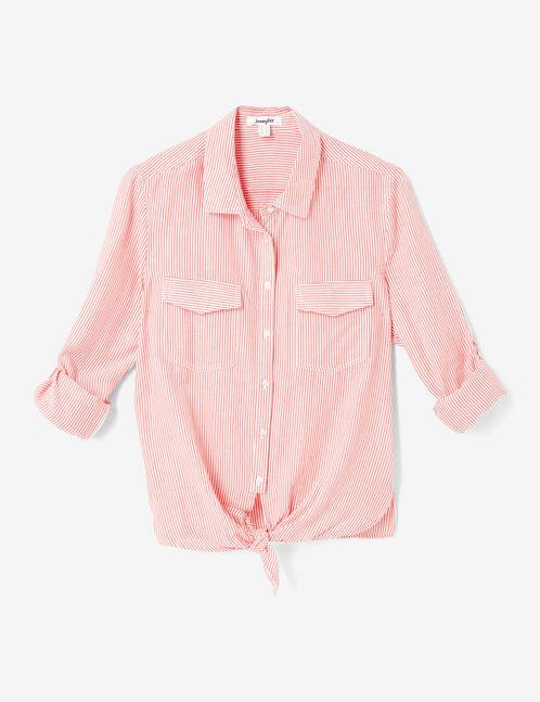 chemise rayée à nouer écru et rouge