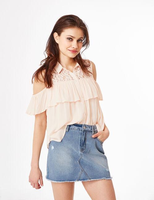 Light pink mixed fabric shirt