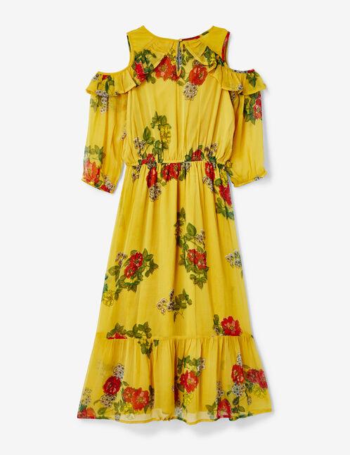 robe longue fleurie ocre
