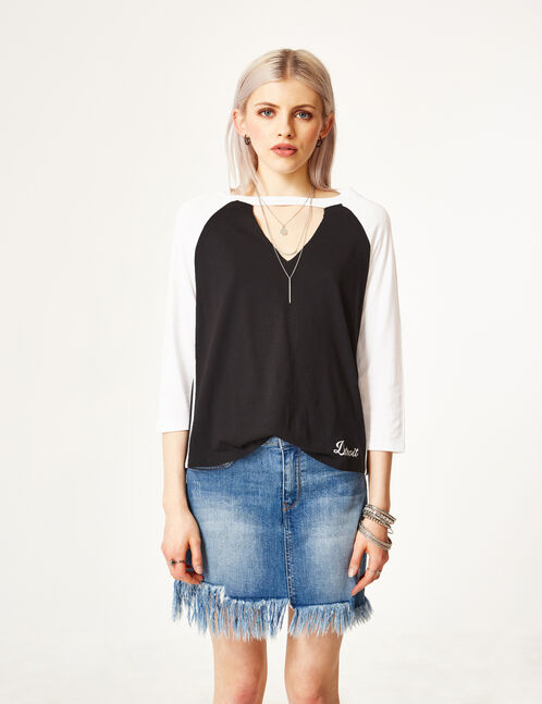 Black and white top with cut-out detail
