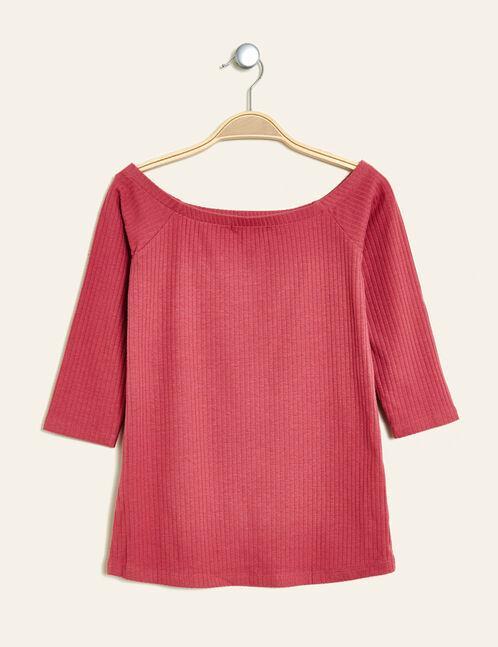 tee-shirt épaules dénudées framboise