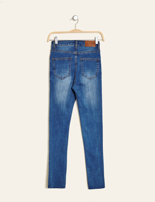 Medium blue high-waisted super skinny jeans