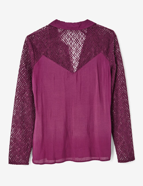 chemise bi-matière violette