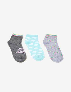 chaussettes fantaisies gris chiné et mutlicolore