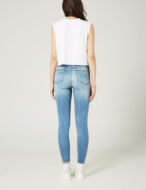 jean skinny taille haute bleu clair