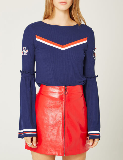 Navy blue top with stripe detail