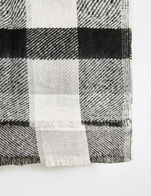 charpe motif tartan noir et blanc femme jennyfer. Black Bedroom Furniture Sets. Home Design Ideas