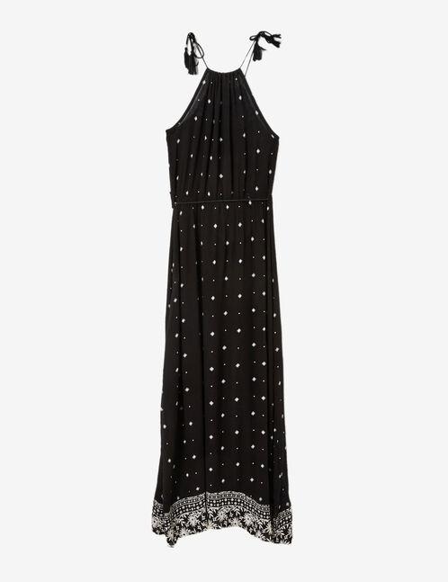 robe longue imprimé noire