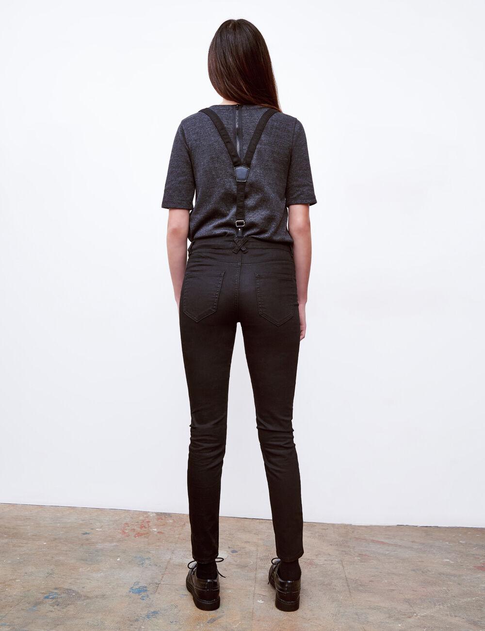 pantalon avec bretelles noir femme jennyfer. Black Bedroom Furniture Sets. Home Design Ideas