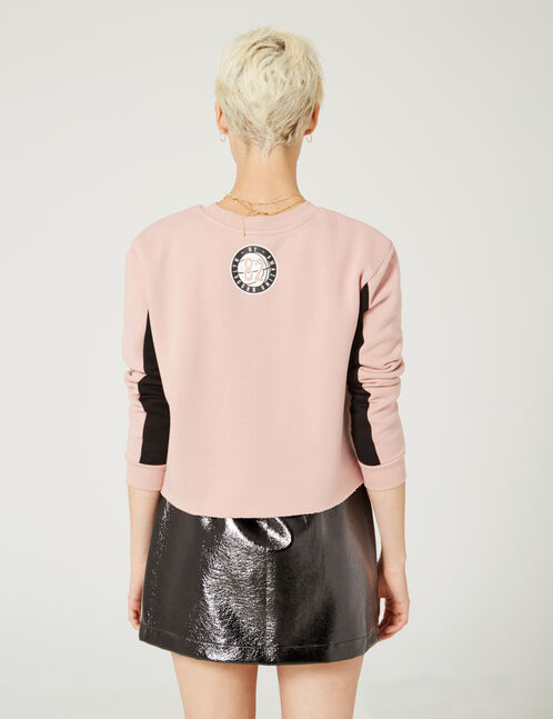 sweat bicolore noir et rose clair