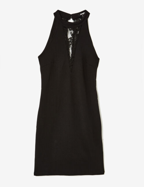 Black fitted dress with lace detail