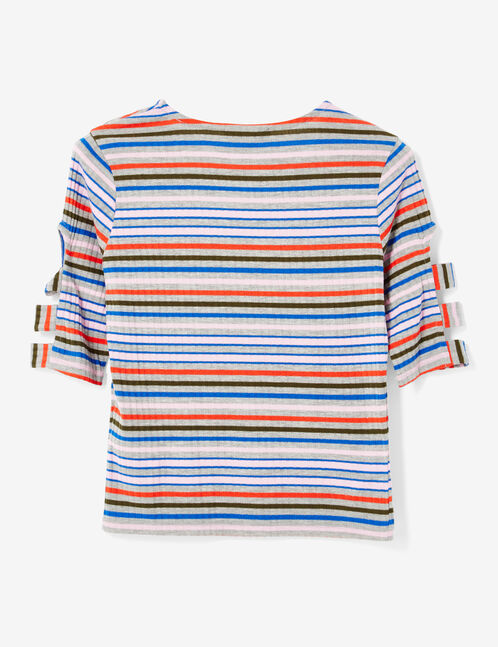 tee-shirt ouvertures manches rayures gris chiné