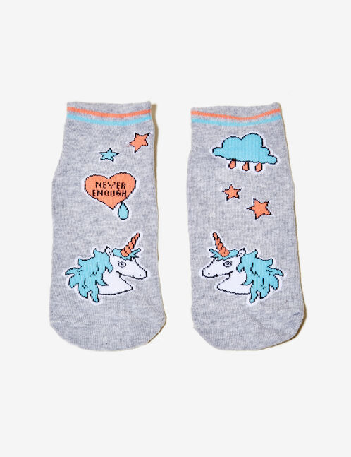Grey unicorn socks