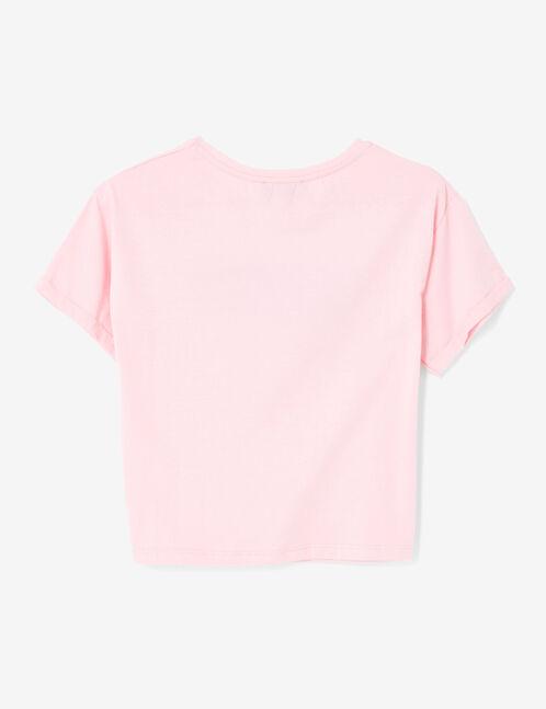 crop top à message pailleté rose clair