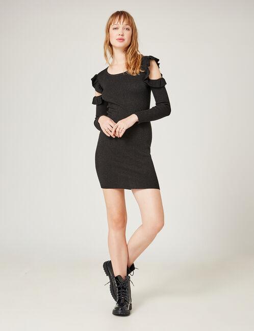Black cold shoulder jumper dress